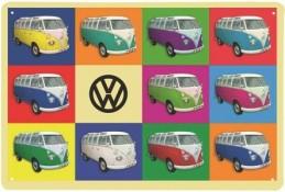 VW BUS METAL SIGN - MULTICOULEUR