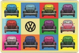 VW BEETLE METAL SIGN - MULTICOULEUR