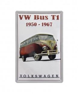 VW T1 BUS RED METAL SIGN - 1950 - 1967